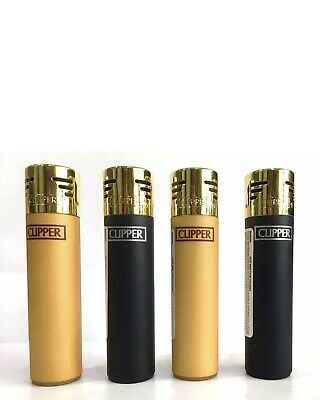 4 x Clipper Electronic Refillable Lighters Black Soft & Silver Metallic £4.29