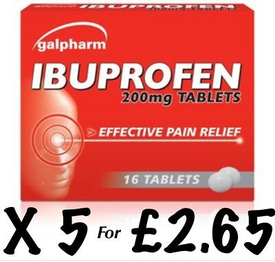 IBUPROFEN 200MG TABLETS - PAIN RELIEF 16 TABLETS X 5 Galpharm