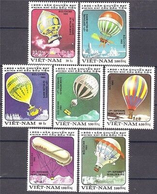 Vietnam 1983  Hot Air Balloon Montgolfier Aircraft Aviation Flight 7v set MNH