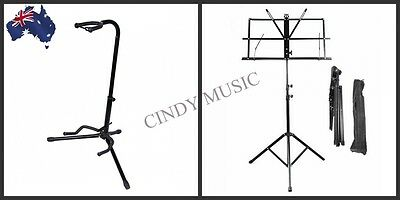 New PRO Music Sheet Stand +Electric Acoustic Bass Tripod Folding Guitar Stand