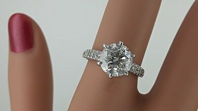 2.71 Ct D/si1 Round Diamond Solitaire Engagement  Ring 14 K White Gold *