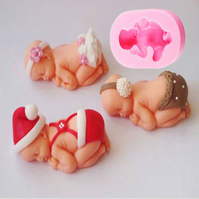 2 Silicone Mould Sugarcraft Sleeping Baby Shower Cake Topper Modelling Tools  3D