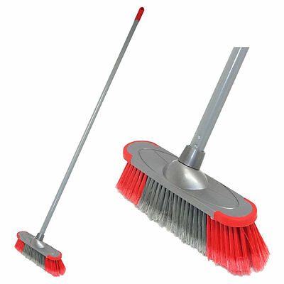 "Soft Broom 12"" Red PVC Sweeping Broom Cleaning Indoor Kitchen Tiled Laminate NEW"