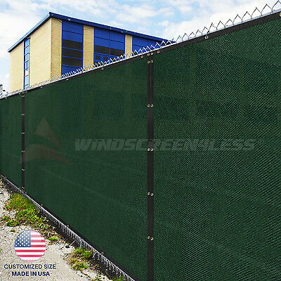 Customize Green 4' 5' 6' 8' Tall Fence Privacy Wind Screen Mesh Fabric w/Zip Tie