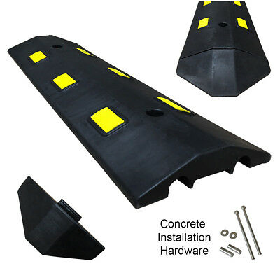 3FT Concrete Light Weight Speed Bump Traffic Road Safety Control Black & Yellow