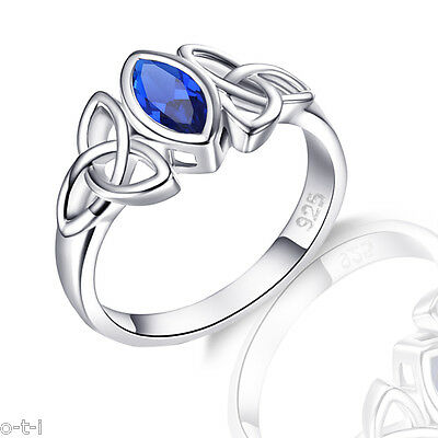 Blue Sapphire Marquise Sterling Rhodium Silver Celtic Ring