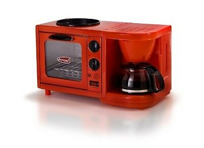 3-in-1 Breakfast Station 4-cup Coffee Maker Red