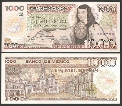 Mexico 1000 PESOS 1984 Sign. 18 (WU) P 81 UNC OFFER !
