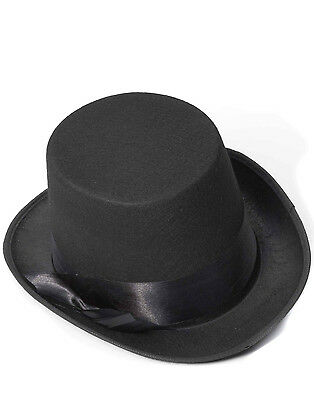 Black Top Hat Steampunk Gothic Bell Topper Mens Halloween Costume Accessory
