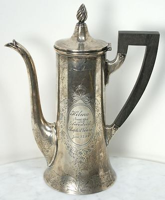 Antique MERIDEN BRITANNIA CO. Sterling Silver Teapot with Wood Handle 1909 RARE