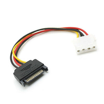 "6"" Inch 15pin SATA Male to 4pin Molex Female Power Adapter Cable"