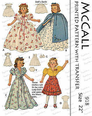 Vintage 1950's Little Lady Dolls and other movie dolls Sewing Patterns - 22 inch