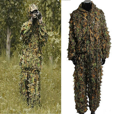 Leaf Camouflage Camo Ghillie Suit Set 3D Jungle Forest Hunting  Training