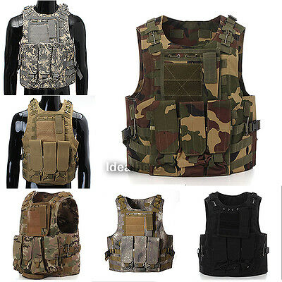 Tactical Military Molle Combat Assault Plate Carrier Police Hunting Vest Holster