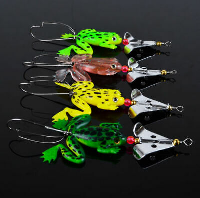 4Pcs/Lot Soft Rubber Frog Bass Bait Spinner lures CrankBait Tackle Fishing Lures