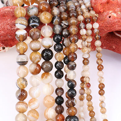 1Bunch Lots Natural Coffee Stripe Round Spacer Agate Beads DIY 4/6/8/10/12MM Hot
