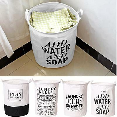 Waterproof Foldable Linen Washing Clothes Laundry Basket Bag Hamper Bin Storage