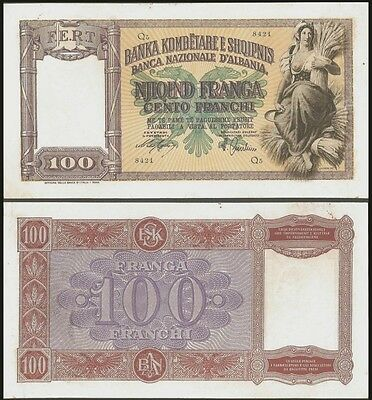Albania 100 FRANGA peasant woman ND 1940 P 8 XF