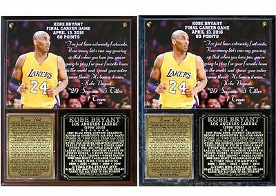 Kobe Bryant Retirement 1996-2016 Photo Plaque Los Angeles lakers