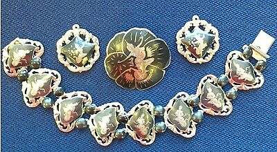 (CZ9) Vintage SIAM -Dancing Goddess- Sterling Silver Bracelet, Pin and Pendants