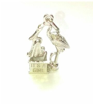 (CZ6) Sterling Silver 3D Stork with Moveable Baby and Chimney - Its A Girl -