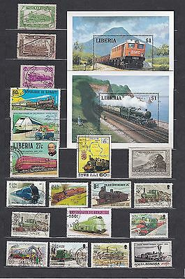 TRAIN RAILWAY Thematic STAMP COLLECTION Mint Used INC 2 LIBERIA Mini Sh RE:TH493