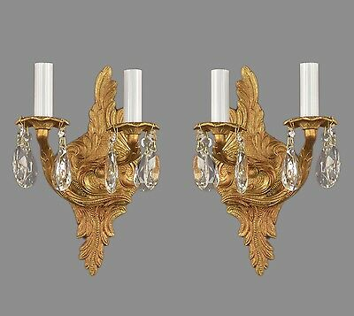 French Rococo Brass & Crystal French Sconces c1950 Vintage Antique Lights