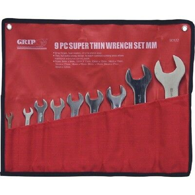 GRIP 9pc Thin METRIC Wrench Set Tools Wrenches MM Open End 8mm-32mm 90122