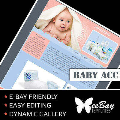 Professional eBay Auction Listing Template 32 BABY ACC Custom HTML New Design
