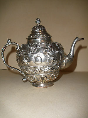 Antique early Continental Rococo figural sterling silver teapot 18th Netherlands