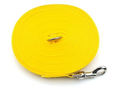 65ft Dog Training Lead,Obedience,Recall,Leash,Large 25mm Webbing Yellow
