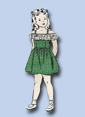 1940s Vintage Butterick Sewing Pattern 4517 Easy Toddler Girls Dirndl Dress Sz 6