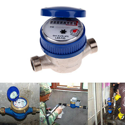 "15mm 1/2"" Water Flow Measuring Meter Copper Cold Dry Counter For Home and Garden"