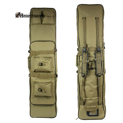 "120CM/47"" Tactical Military Dual Rifle Gun Bag Carry Case Shoulder Backpack Tan"