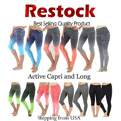 f57d5592e1844 Womens High Waist Yoga Pants Moisture Wicking Ombre Athletic Leggings S.M.  L. XL