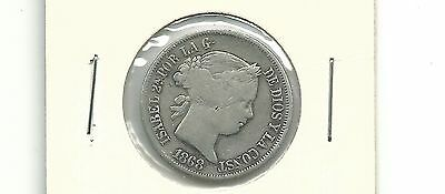 Philippines 1868 20 Centimos Silver Coin