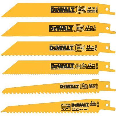 6 Piece Reciprocating Saw Blades Wood Metal Work Cutting Home Model Tools