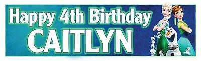 """2 PERSONALISED FROZEN FEVER BIRTHDAY BANNERS 3 ft - 36 """"x 11"""" ELSA ANNA OLAF"""