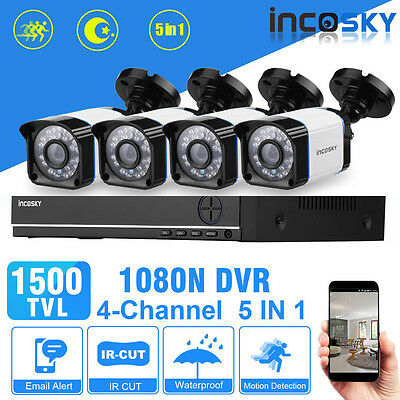 4CH 5-IN-1 AHD 1080N HDMI DVR+1500TVL Outdoor CCTV Security Camera System Kit AU