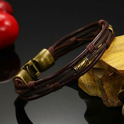 New Men's Braided Genuine Leather Stainless Steel Cuff Bangle-Bracelet-Wristband