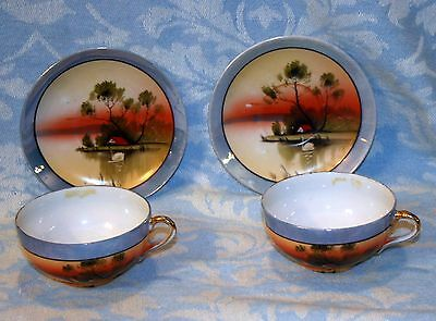 GORGEOUS Vintage Antique Japanese Blue Lusterware 2 Cup & Saucer Sets With Swans
