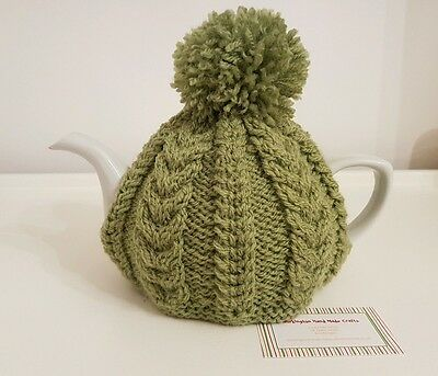 Hand Knitted Aran Tea Cosy - Apple Green