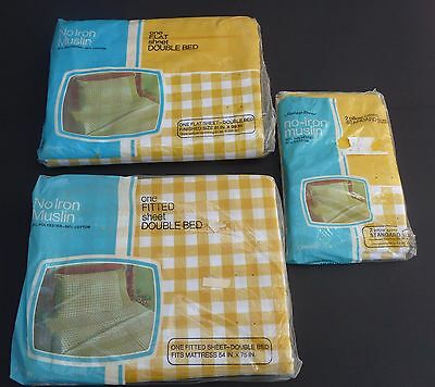 Vtg Pennys Fashion Manor muslin double flat & fitted sheet pillows yellow check