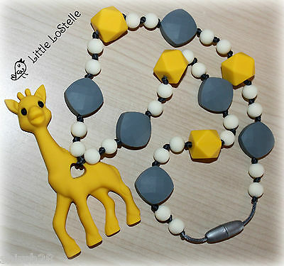 Giraffe Silicone Teething Ring Teether Baby Carrier Tula Ergo Zigzag Necklace