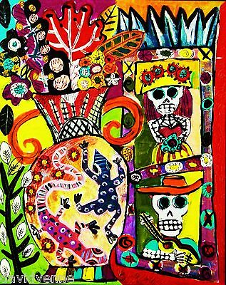 8 X 10 Canvas Print-Day of the Dead Skull Cloak Sandra Silberzweig