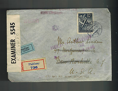 1941 Piestany Slovakia Registered cover to USA Held By British Censor until 1946