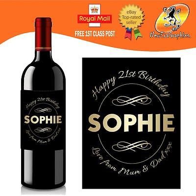 Personalised Red White Rose Wine Bottle Label Birthday Any Occasion Gift