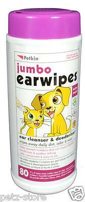 2x tubs Petkin Pet Jumbo Ear Wipes 80's tub for Cats, Dogs and Puppies