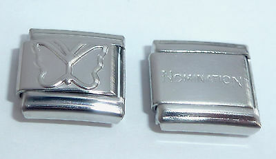 SILVER BUTTERFLY 9mm Italian Charm + 1x Genuine Nomination Classic link Shiny