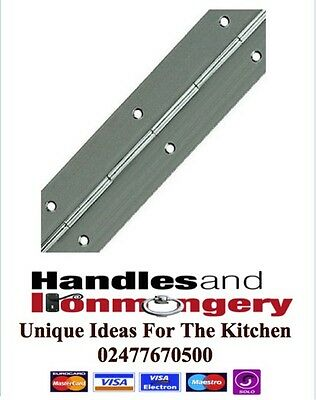 Piano Hinge Continuous Strip Door Cabinet Box Drilled Nickel Plated 32mm x 2mtr